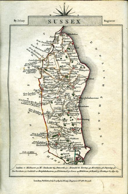 Sussex County Map by John Cary 1790 - Reproduction